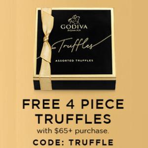 Godiva美国官网精选巧克力母亲节满$65赠巧克力4个装礼盒