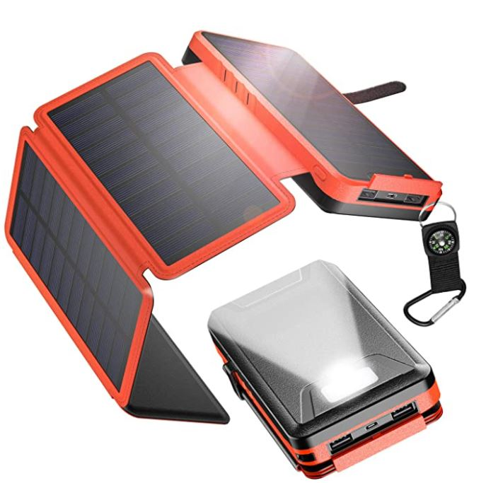 IEsafy Outdoor Solar Power Bank 26800mAh, with 4 Foldable Solar Panels and 2 High-Speed Charging Ports for Smartphones, Tablets, Samsung, iPhone with Waterproof LED Flashlight(Orange)