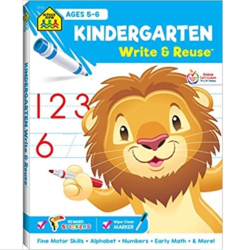 School Zone - Kindergarten Write & Reuse Workbook - Ages 5 to 6, Spiral Bound, Write-On Learning, Wipe Clean, Includes Dry Erase Marker, Early Math, and More
