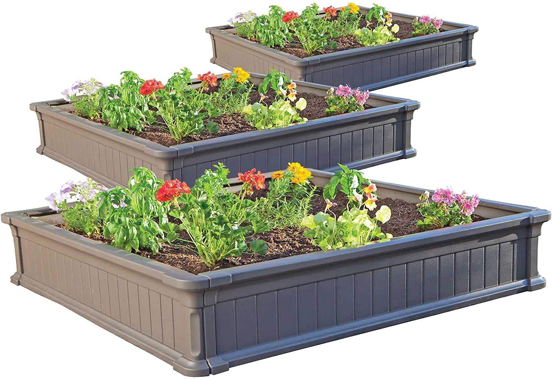 Lifetime 4x4-Foot Raised Garden Bed Kit 3-Pack