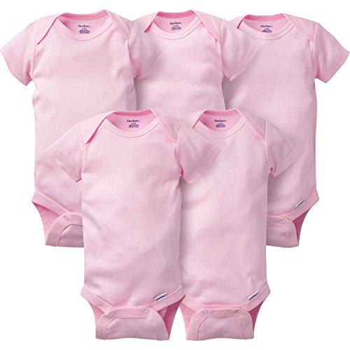 Gerber Baby Girls' 5 Pack Onesies, Solid Pink, 6-9 Months