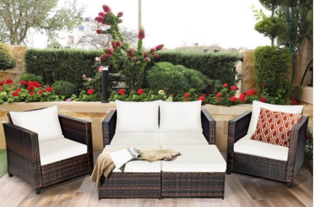 Costway 5-Piece Patio Cushioned Rattan Furniture Set