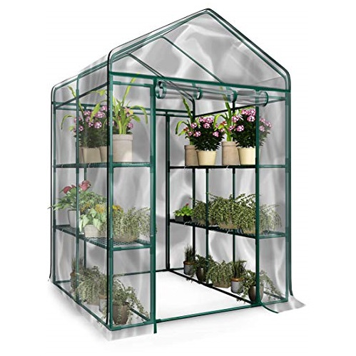 Home-Complete Walk-in Greenhouse-Indoor Outdoor with 8 Shelves, Green, List Price is