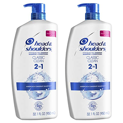 Head and Shoulders Shampoo and Conditioner 2 in 1, Anti Dandruff Treatment and Scalp Care, Classic Clean, 32.1 fl oz, Twin Pack