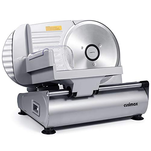 """CUSIMAX Meat Slicer Electric Food Slicer with 7.5"""" Removable Stainless Steel Blade and Pusher"""