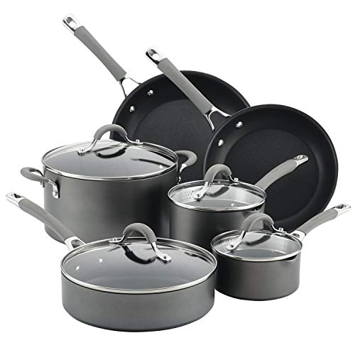 Circulon Elementum Hard Anodized Nonstick Cookware Pots and Pans Set, 10 Piece, Oyster Gray, List Price is