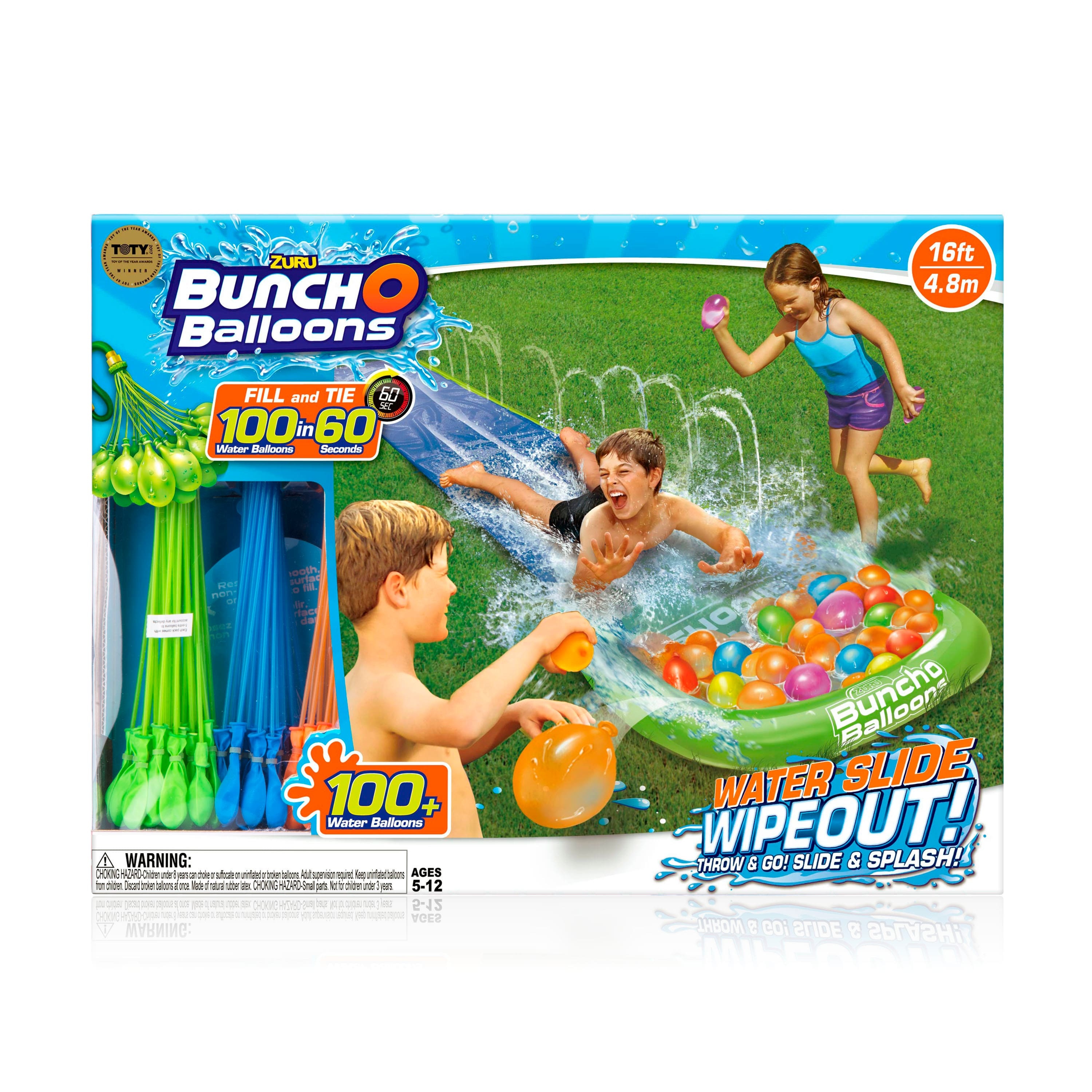 Bunch O Balloons Water Slide Wipeout w/ 100+ Water Balloons