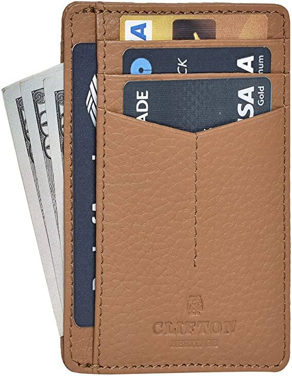 Clifton Heritage RFID Front Pocket Leather Minimalist Wallet (Gray)