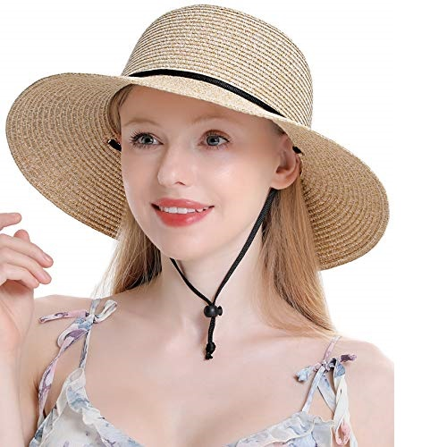 Womens Straw Hat Wide Brim Floppy Beach Cap Adjustable Sun Hat for Women UPF 50+ (Mixed Beige)