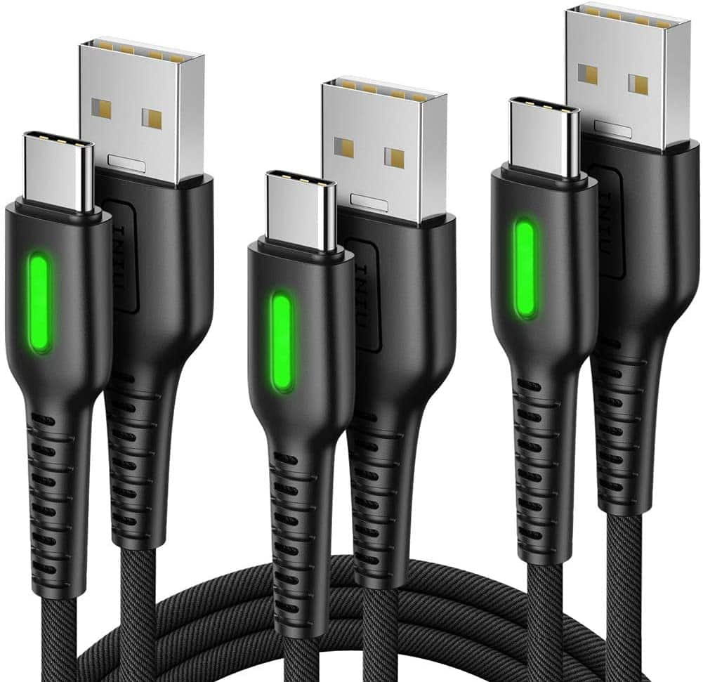 3-Pack INIU Nylon Braided QC 3.0 USB C to USB A Cables (1.6' +3.3' +10')