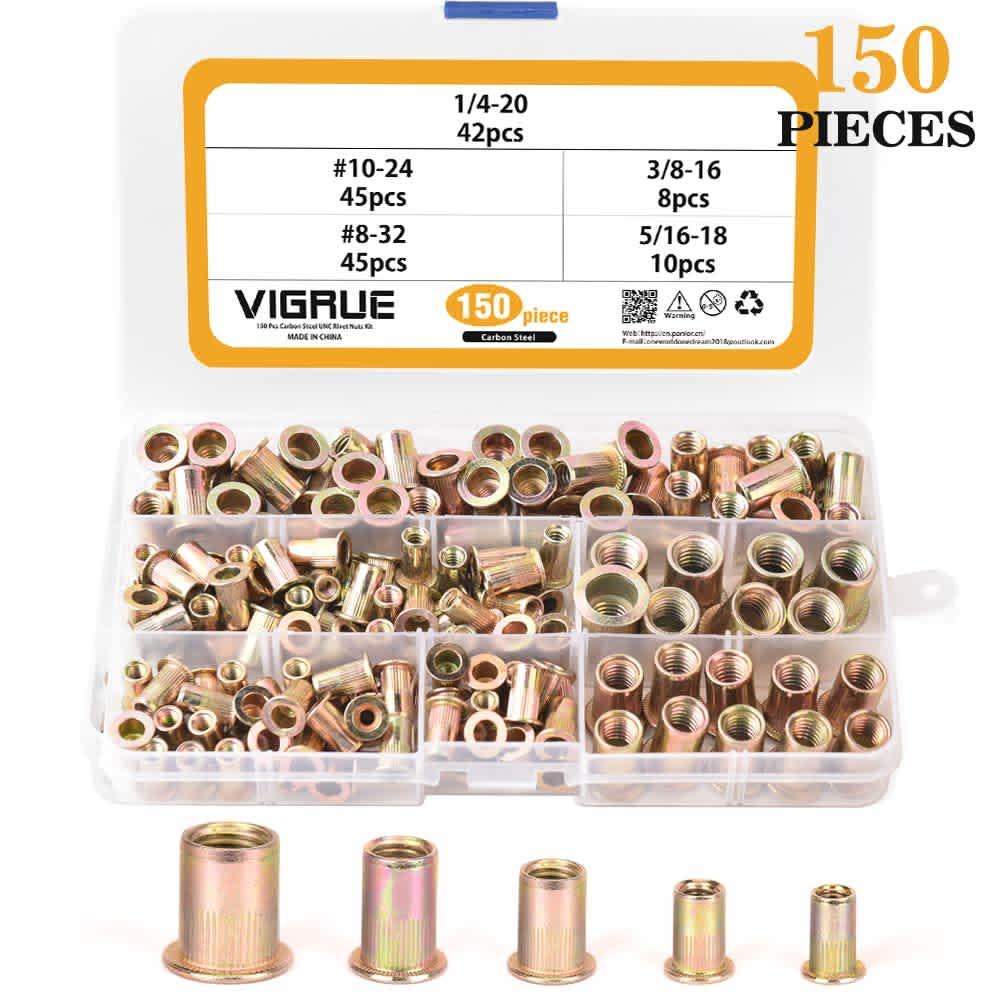 Vigrue 150-Piece Carbon Steel UNC Rivet Nuts Set
