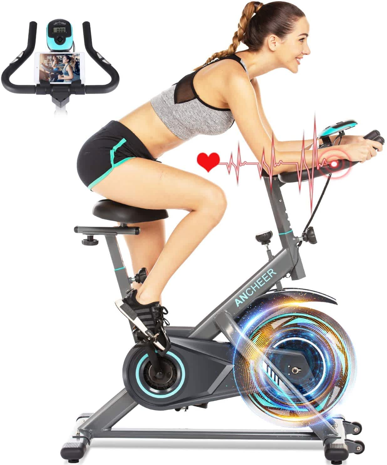 Ancheer Stationary Exercise Bike w/ HR Monitor & LCD Display