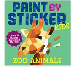 B1G1 50% Off Paint by Sticker Kids Paperback Sticker Book: Zoo Animals