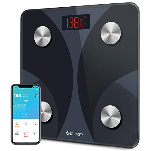 Etekcity Smart Digital Bathroom Scale, Scales for Body Weight and Fat, Sync with Bluetooth, Health Monitor, 10.2 x 10.2 inches, Black