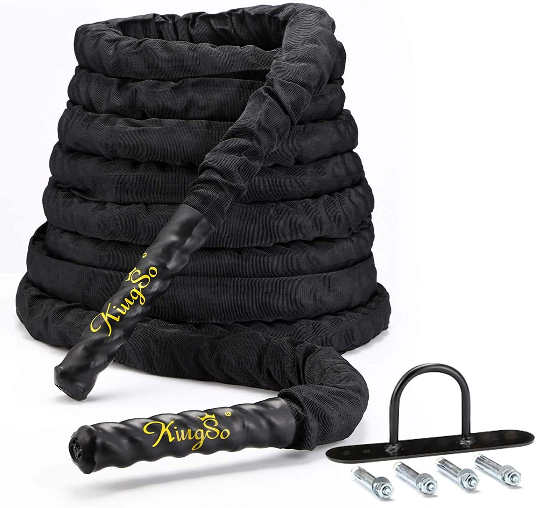 30' KingSO Dacron Battle Exercise Training Rope w/ Protective Nylon Sleeve