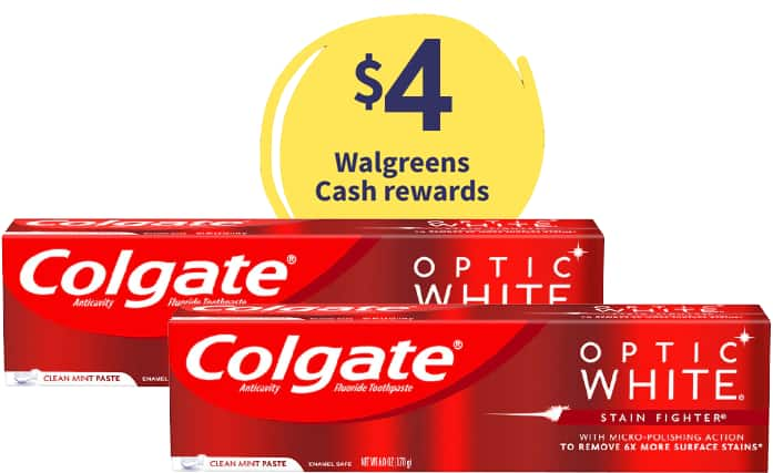 2-Ct 4.8-6oz Colgate Toothpaste (various) + $4 Walgreens Rewards