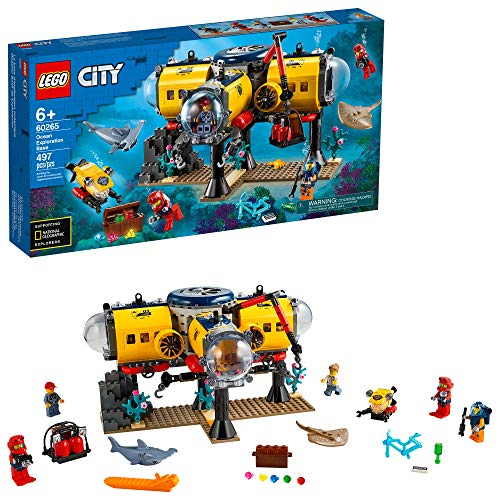 LEGO City Ocean Exploration Base Playset 60265, with Submarine, Underwater Drone, Diver, Sub Pilot, Scientist and 2 Diver Minifigures, , New 2020 (497 Pieces)