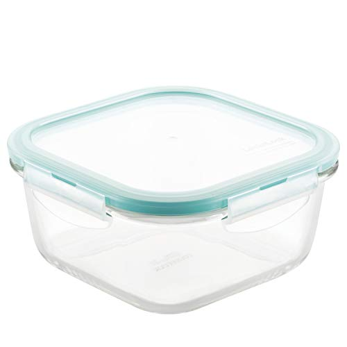 LOCK & LOCK Purely Better Glass Food Storage Container with Lid, Square-20 oz, Clear, Now