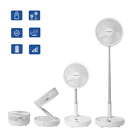 Battery Operated Portable Standing Fan, Primevolve 8.7'' Rechargeable USB Fan with Adjustable Height for Camping Tent Travel White discounted price