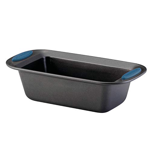 Rachael Ray Yum-o! Bakeware Oven Lovin' Nonstick Loaf Pan, 9-Inch by 5-Inch Steel Pan, Gray with Marine Blue Handles