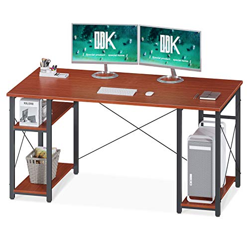 "ODK Computer Desk with Shelves, 47"" Multifunctional Shelves Desk, Stable Writing Table for Home Office, Teak, Now"
