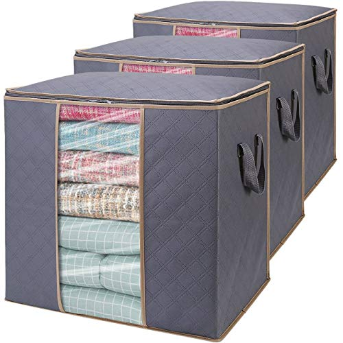 WISELIFE Storage Bags 100L 3-Pack Large Blanket Clothes Organization and Storage Containers