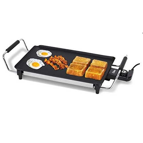 """Elite Gourmet EGR-4423 Electric 17"""" x 9"""" Griddle, Cool-touch Handles PFOA-Free Non-Stick Surface, Removable/Adjustable Thermostat, Skid Resistant Rubber Feet, Black"""