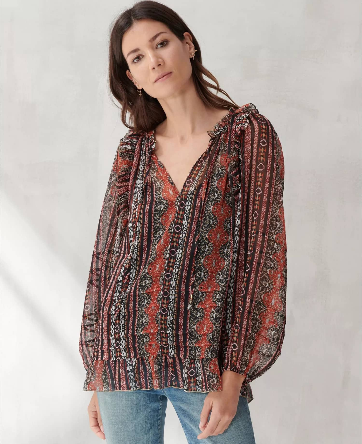 Lucky Brand Women's Chiffon Printed Peasant Top