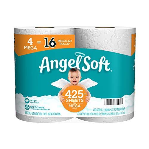 Angel Soft Toilet Paper Bath Tissue, 4 Mega Rolls