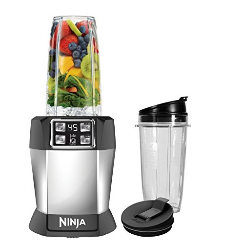 Nutri Ninja Personal Blender with 1000 Watt Auto-IQ Base for Juices, Shakes and Smoothies with 18 and 24-Ounce Cups, and 75 Recipe Book (BL480D)