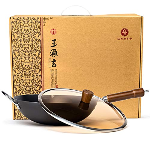 """WANGYUANJI Cast Fine Iron Wok Round Bottom Wok Pan 14.2"""" Chinese Traditional Iron Pot with Detachable Wooden Handle Practical Gift, Now"""