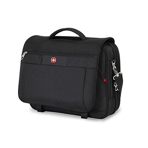 Swiss Gear SA8733 Black TSA Friendly ScanSmart Laptop Messenger Bag - Fits Most 15 Inch Laptops amd Tablets, List Price is