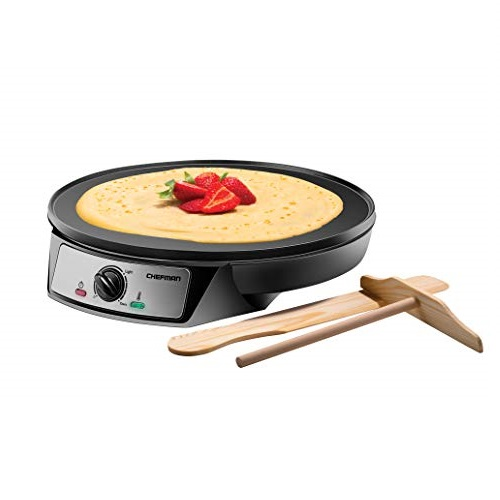 Chefman Electric Maker & Griddle, Precise Temperature Control Skillet Blintzes, Pancakes, Eggs, Bacon and more, 12 Inch Non-Stick Grill Pan, Includes Batter Spreader & Spatula, Crepe Maker