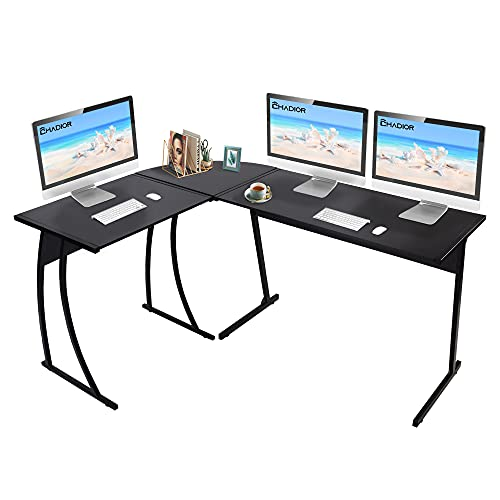 """CHADIOR L Shaped Corner Computer Gaming Desk 58""""L x 44""""W Modern Workstation Table for Small Space Home Office, Black, List Price is"""