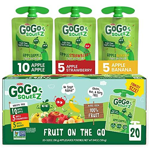 史低价!GoGo squeeZ 即食苹果 果酱,3.2 oz/包,共20包