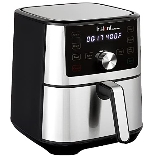 Instant Vortex Plus 6-in-1 Basket Air Fryer with Digital Touchscreen, Customizable Smart Cooking Programs, Easy to Clean Basket, 4 Quart Capacity, and a Stainless Finish