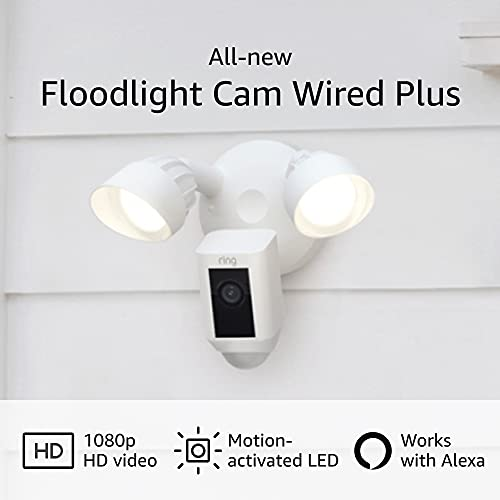 All-new Ring Floodlight Cam Wired Plus with motion-activated 1080p HD video, White (2021 release), Now