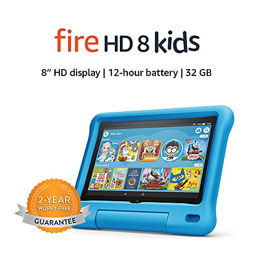 """Fire HD 8 Kids tablet, 8"""" HD display, ages 3-7, 32 GB, Blue Kid-Proof Case, Now"""