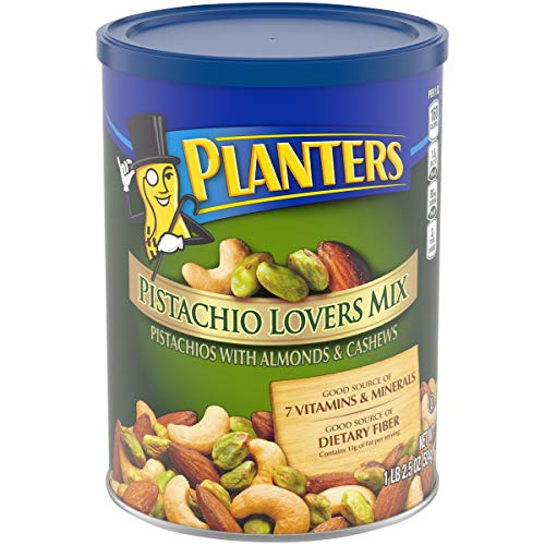 PLANTERS Pistachio Lover's Mix, 1.15 lb. Resealable Canister - Deluxe Pistachio Mix: Pistachios, Almonds & Cashews Roasted in Peanut Oil with Sea Salt - Kosher, Savory Snack, Now