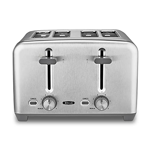 BELLA 4 Slice Toaster, Quick & Even Results Every Time, Wide Slots Fit Any Size Bread Like Bagels or Texas Toast, Drop-Down Crumb Tray for Easy Clean Up, Stainless Steel, Now