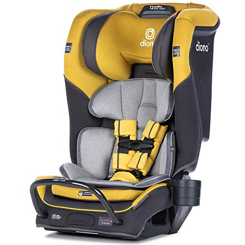 Diono Radian 3QX 4-in-1 Rear & Forward Facing Convertible Car Seat | Safe+ Engineering 3 Stage Infant Protection, 10 Years 1 Car Seat,  Fits 3 Across, Yellow Mineral