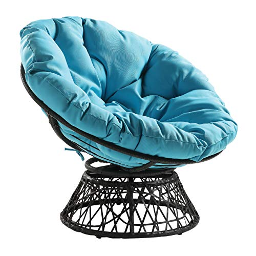 OSP Home Furnishings Wicker Papasan Chair with 360-Degree Swivel, Grey Frame with Blue Cushion, List Price is