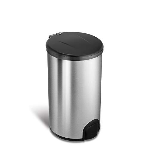 NINESTARS TTT-45-8 Automatic Tap Sensor Trash Can, 12 Gal 45L, Stainless Steel Base (Round, Black Lid), Now