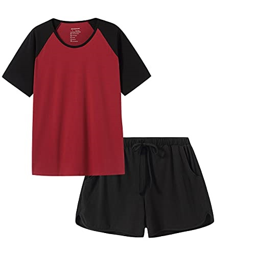 SANQIANG 2 Pcs Women's Sleepwear Lightweight Cotton Spandex Stretchy Short Pajamas Set for Women, Now