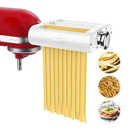 ANTREE Pasta Maker Attachment 3 in 1 Set Included Pasta Sheet Roller, Spaghetti Cutter, Fettuccine Cutter Maker Accessories and Cleaning Brush