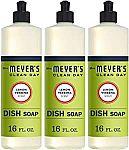 3-Pack 16-oz Mrs. Meyer's Clean Day Dishwashing Soap (Lemon Verbena)