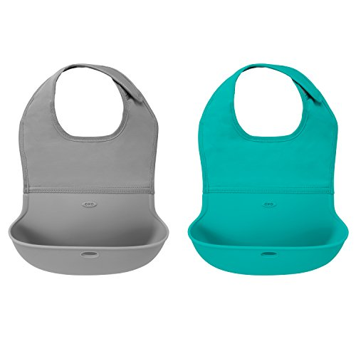 OXO Tot Roll- Up Bib 2-Pack Gray/Teal