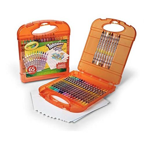 Crayola 可拧转无毒彩色铅笔旅行套装,包括25支彩色铅笔和40张绘画纸