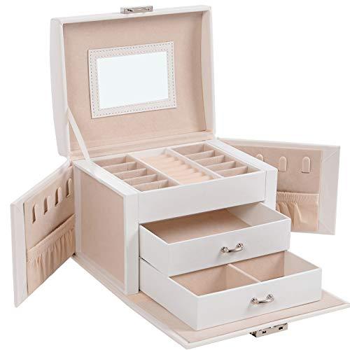 SONGMICS Jewelry Box, Travel Jewelry Case, Compact Jewelry Organizer with 2 Drawers, Mirror, Lockable with Keys, 6.9 x 5.3 x 4.7 Inches, Gift Idea, White UJBC154W01,Now