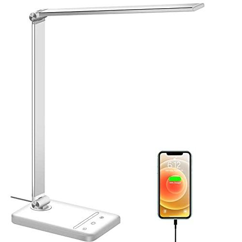 LED Desk Lamp, Eye-Caring Desk Lamp with USB Charging Port